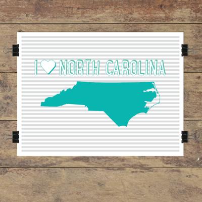 I heart North Carolina striped wall quotes art print