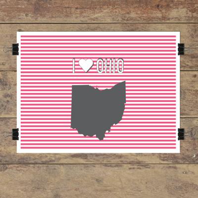 I heart Ohio striped wall quotes art print
