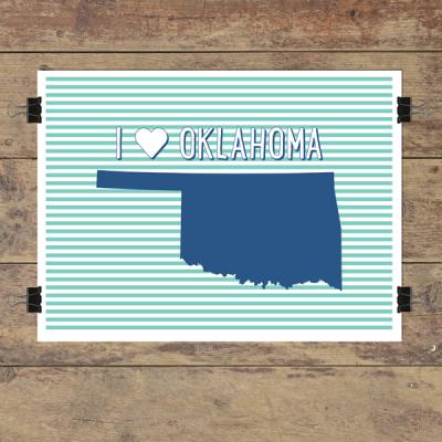 I heart Oklahoma striped wall quotes art print
