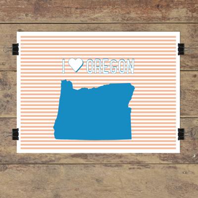 I heart Oregon striped wall quotes art print