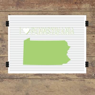 I heart Pennsylvania striped wall quotes art print