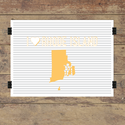 I heart Rhode Island striped wall quotes art print
