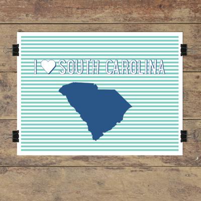 I heart South Carolina striped wall quotes art print
