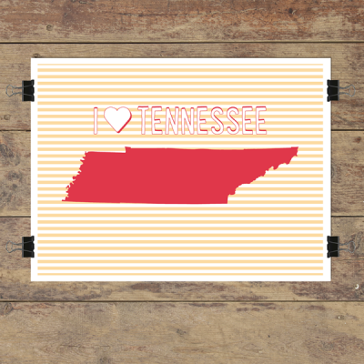 I heart Tennessee striped wall quotes art print