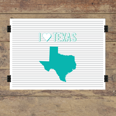 I heart Texas striped wall quotes art print