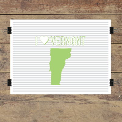 I heart Vermont striped wall quotes art print