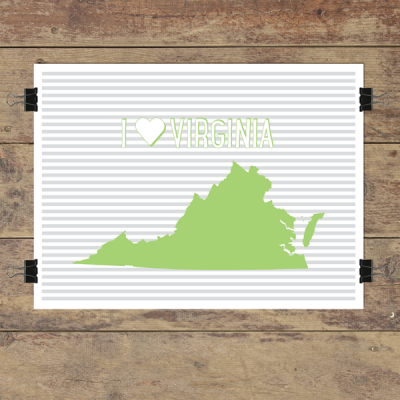 I heart Virginia striped wall quotes art print