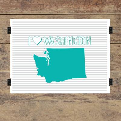 I heart Washington striped wall quotes art print