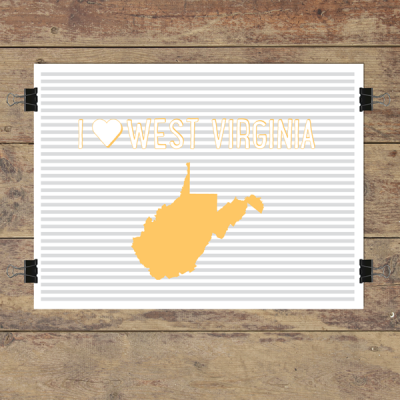 I heart West Virginia striped wall quotes art print