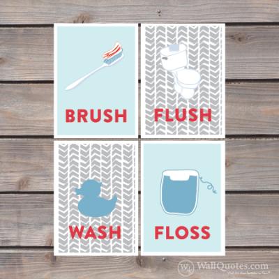 brush, floss, flush, wash