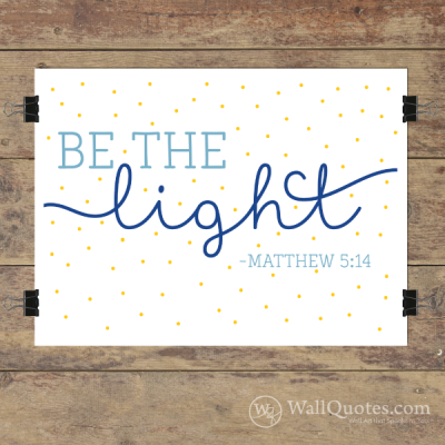 Be The Light with polka dots Wall Quotes™ Giclée Art Print