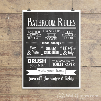 Bathroom Rules Classic Wall Quotes Gicl 233 E Art Print