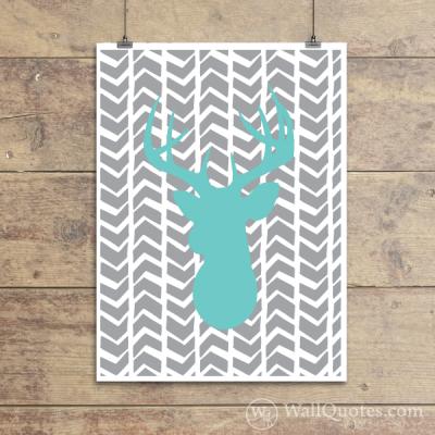 Deer Silhouette Sketchy Chevrons Wall Quotes™ Giclée Art Print Mint Sundae