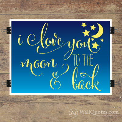 To The Moon & Back Wall Quotes™ Giclée Art Print Navy