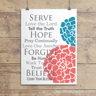 Faith Family Rules Blossoms Wall Quotes™ Giclée Art Print lipstick