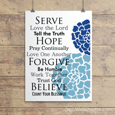 Faith Family Rules Blossoms Wall Quotes™ Giclée Art Print