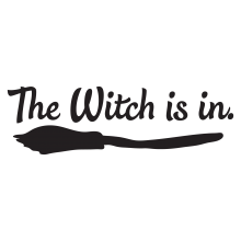 The witch is in . (over top of black broom)