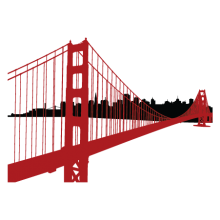 SF Golden Gate Bridge Skyline wall decal