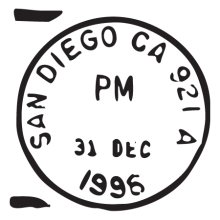 san diego ca dec 96 postmark wall art decal