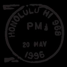 honolulu hi postmark wall art decal