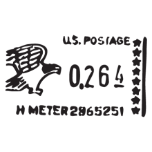 us metered mail postmark wall art decal