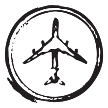 airplane circle stamp postmark wall art decal