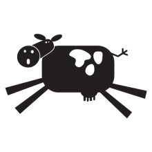 cow party animal wall art decal
