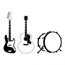 time to jam music wall quotes vinyl decal music guitar bass drums acoustic