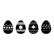 Four Easter Eggs with various designs wall quotes vinyl shapes wall decal home decor vinyl stencil easter eggs coloring eggs seasonal