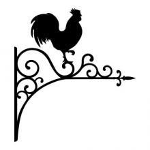 Hanging iron look sign with Rooster perched on top wall quotes vinyl shape wall decal home decor vinyl stencil farmhouse hen chickens eggs farm