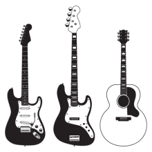 three guitars wall decal