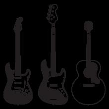 three guitars wall decal