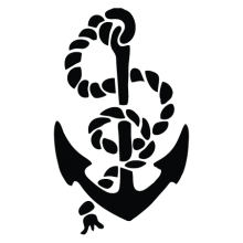 rope and anchor tattered wall decal