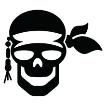 pirate skull and bandana wall decal