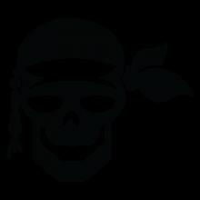 pirate skull and bandana wall decal
