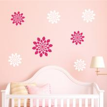 set of 7 flowers decal kit