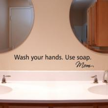 Wash your hands love mom, bathroom decal, wash your hands,