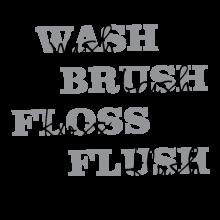 Wash Brush Floss Flush Wall Quotes Decal bathroom bath