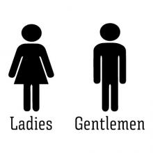 Ladies and Gentlemen bathroom signs wall quotes vinyl lettering wall decal washroom office restroom professional direction signs