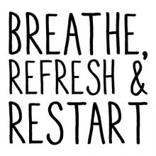 Breathe refresh & restart wall quotes vinyl lettering wall decal home decor bathroom quotes restroom washroom yoga spirit renew relax