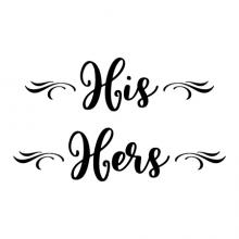 His / Hers {scroll embellishment] wall quotes vinyl lettering wall decal home decor bathroom washroom restroom labels