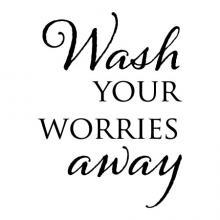 Wash your worries away wall quotes vinyl lettering wall decal home decor vinyl stencil bath bathroom washroom restroom shower