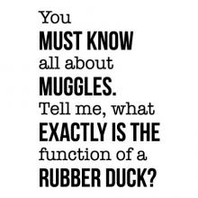 You must know all about muggles. Tell me, what exactly is the function of a rubber duck? wall quotes vinyl lettering wall decal home decor vinyl stencil bath bathroom harry potter arthur weasley muggle wizard