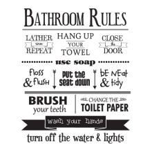 bathroom rules wall quotes decal to remind some people of their manners