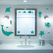 The Ocean Collection wall quotes wall decal art kit Dolphin, starfish, fish, stingray, seahorse, octopus, turtle, jellyfish, sea creature, water, beach