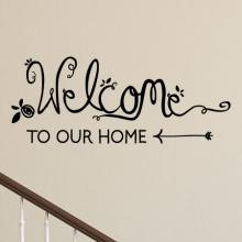 Welcome To Our Home Handwritten wall quotes vinyl lettering wall decal home decor entry entryway hello