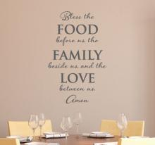 Bless the food before us, the family beside us, and the love between us. Amen. wall quotes vinyl lettering wall decal home decor