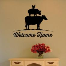 Welcome Home {chicken pig cow} wall quotes vinyl lettering wall decal home decor farm farmhouse barn vintage rustic animals butcher