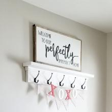 Welcome to our perfectly imperfect home wall quotes vinyl lettering wall decal home decor vinyl stencil house perfect entry