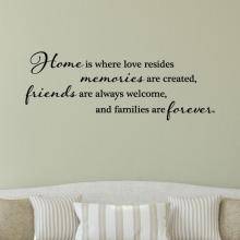 ome is where love resides memories are created, friends are always welcome, and families are forever.